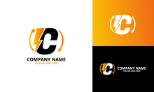 Flash Initial Letter C Logo Icon Template. Illustration Vector Graphic. Design Concept Electrical Bolt With Letter  Symbol. Perfect For Corporate, Technology, Initial , More Technology Brand Identity