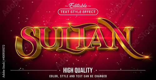 Fotomural Editable text style effect - Sultan with Gold and Red text style theme