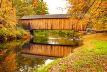 Corbin Covered Bridge Over Sugar River In Newport, New Hampshire.