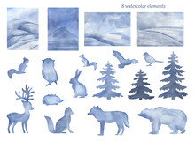 Watercolor Blue Arctic Animals And Landscape With Pine Tree Hand Painted Background