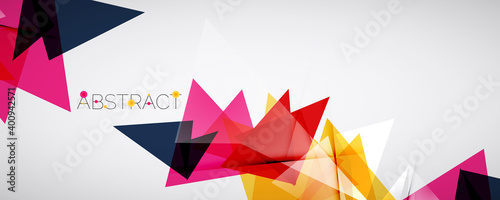 Fototapeta Geometric abstract background. Color triangle shapes. Vector illustration for covers, banners, flyers and posters and other designs obraz