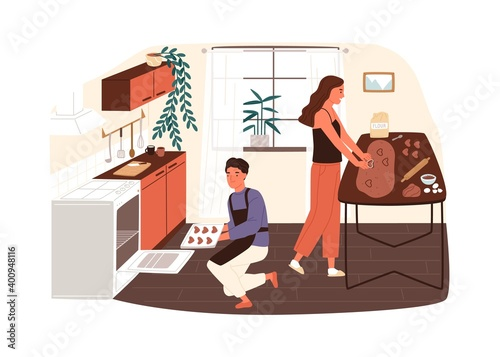 Papel de parede Couple preparing cookies or gingerbread at home kitchen vector flat illustration