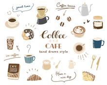 手描きのコーヒー、カフェのイラスト/セット/珈琲/スケッチ/スイーツ/マグカップ/おしゃれ