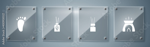 Fototapeta Set Aroma candle, diffuser, and Foot massage. Square glass panels. Vector. obraz