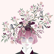 Vector Illustration Of A Girl Wearing Sunglasses And Decorating The Hair With Flowers. Design For Cards, Party Invitation, Print, Frame Clip Art And Business Advertisement And Promotion