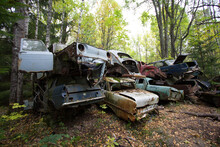 Rusty Old Vintage Cars, Some With Missing Doors And Windows, Bastnäs, Car Cemetry, Damaged Cars In Sweden Close To Norway
