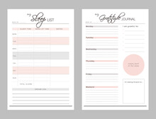 Set Of Sleep List And Gratitude Planner Sheets. Clear And Simple Printable To Do List. Business Organizer Page. Paper Sheet. Realistic Vector Illustration.
