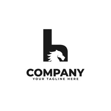 Combination Of H Letter Logo Design And Horse Icon