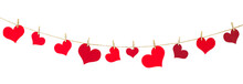 Garland Of Hearts On An Isolated White Background. Decoration For Valentine's Day