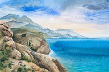 Marine Watercolor Landscape. Sunset On A Cloudy Sky, Mountains And Stones On The Left In The Foreground, And A Blue Sea On The Right.