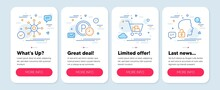 Set Of Business Icons, Such As Multichannel, Parking Time, Internet Shopping Symbols. Mobile Screen Mockup Banners. Unlock System Line Icons. Multitasking, Park Clock, Cart With Purchases. Vector