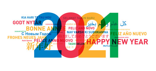 Happy new year colorful card from the world