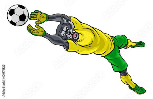 Fototapeta A wolf soccer football player goal keeper cartoon animal sports mascot diving to