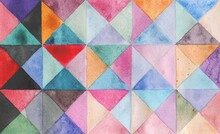 Watercolors Triangles And Squares, Multicolored Ornament, Seamless Pattern Purple Blue Lilac Green Brown Beige Black Pink Red