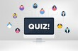 Quiz symbol. Remote team work conference. Answer question sign. Examination test. Online remote learning. Virtual video conference. Quiz message. Vector