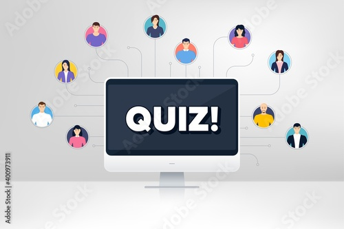 Fototapeta Quiz symbol. Remote team work conference. Answer question sign. Examination test. Online remote learning. Virtual video conference. Quiz message. Vector obraz