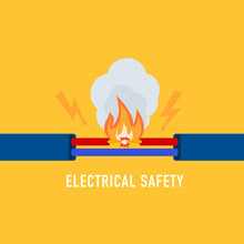 Wire Is Burning. Vector Illustration