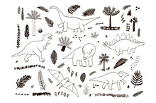 Dinosaurs Hand Drawn Vector Illustrations Line Graphic Set