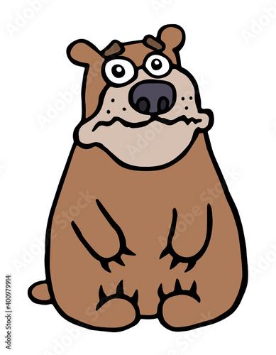 Photo cute unhappy bear. vector illustration.