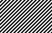 Black And White Diagonal Stripes Background. Vector Illustration Of Monochrome Stripes Of Equal Width. Wallpaper Consist Of Repeatable Texture. Zebra Concept. Graphic For Banner, Presentation Template