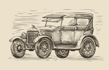 Retro Car Sketch. Automobile Vintage Vector Illustration