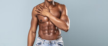 Sexy Muscular Male Torso Of African Athlete Bodybuilder