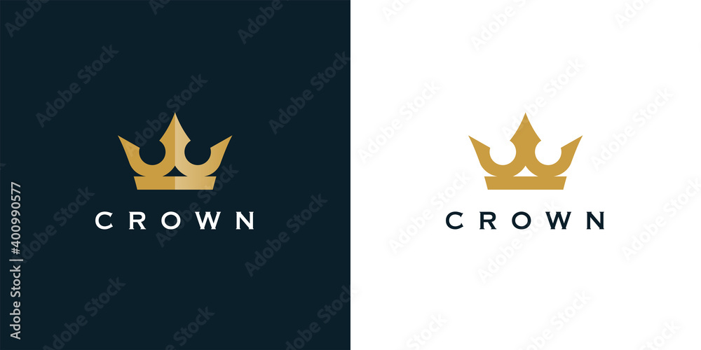 Fototapeta Premium style abstract gold crown logo symbol. Royal king icon. Modern luxury brand element sign. Vector illustration.
