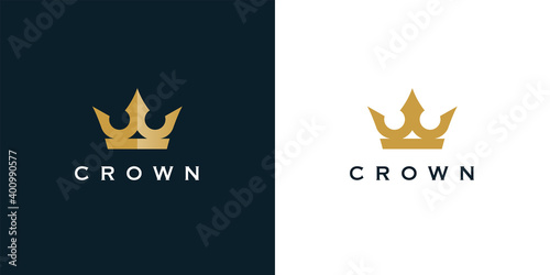 Fototapeta Premium style abstract gold crown logo symbol. Royal king icon. Modern luxury brand element sign. Vector illustration. obraz