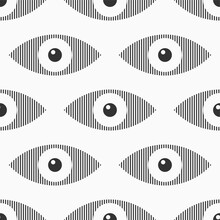 Abstract Seamless Eyes Pattern. Stylized Eye Shapes With Vertical Stripes. Vector Monochrome Illustration.