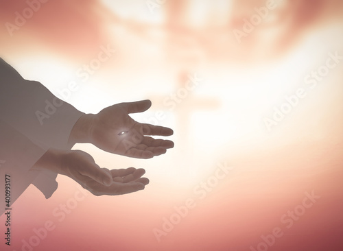 Ascension day concept: The scars In the hands of Jesus Christ over blurred holy Fototapeta