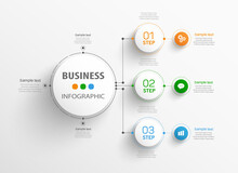 Business Infographic Design Template With 3 Options, Parts, Steps Or Processes. Can Be Used For Workflow Layout, Diagram, Number Options, Web Design