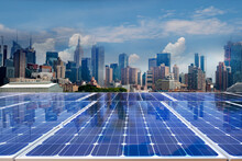 Solar Panel Over Cityscapes, Solar Power Green Energy For Life Concept,New York City USA,