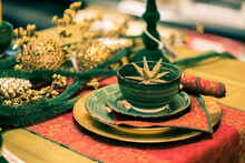 Table Christmas Decoration, Golden Star On The Plate