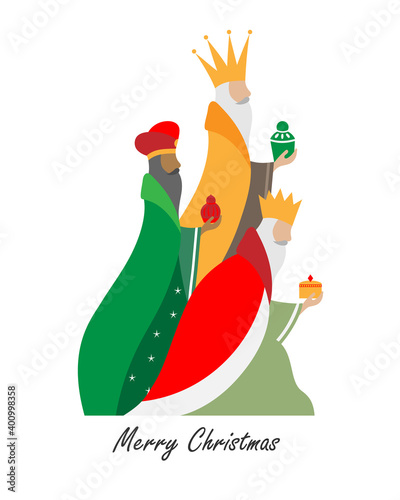 Photo Card of the three wise men. Isolated vector