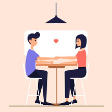Vector Illustration Of Woman And Man In Love. Man Holding Woman's Hand. While Staring At Him. With A Love Icon In The Center.