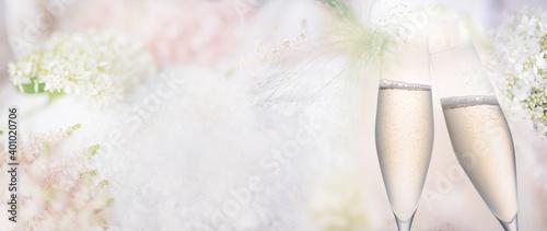 Billede på lærred Abstract bright spring background with champagne