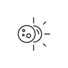 Sun Eclipse Thin Line Icon. Isolated Weather Vector Illustration