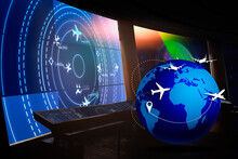 A Global Logistics Delivery Management System With Aircraft Simulated Screens Showing Various Flights For Transport And Passengers.