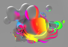 3d Render Of Abstract Art With Surreal Flying Meta Balls Spheres Bubbles Or Festive Party Balloons And Rings With Parallel Lines Pattern On Surface In Neon Glowing Yellow And Purple Light On Grey Back