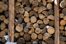 Lots Of Logs Stacked In The Wood-burning Box. Background From Natural Materials