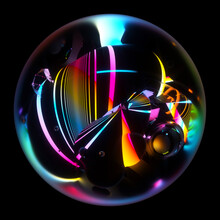 3d Render Of Abstract Art Of Surreal 3d Glass Ball With Organic Curve Wavy Object Inside With Deformed Neon Purple Yellow Green Gradient Glowing Plasma Parallel Lines On Surface On Black Background