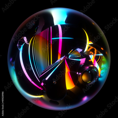 Fotografija 3d render of abstract art of surreal 3d glass ball with organic curve wavy objec
