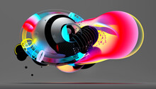 3d Render Of Abstract Art With Surreal Flying Meta Balls Spheres Bubbles Or Festive Party Balloons With Parallel Lines Pattern On Surface With Neon Glowing Pink Yellow And Blue Color Lights On Grey