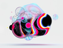 3d Render Of Abstract Art With Surreal Flying Cube Meta Balls Spheres Bubbles Or Festive Party Balloons With Parallel Lines Pattern On Surface With Neon Glowing Pink Yellow And Blue Light On White