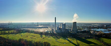 Aerial View Of Cogeneration Plant West Quake Of A Car Factory In Wolfsburg With View Against The Bright Midday Sun
