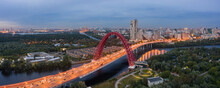 Panoramic View Of Moscow On A Summer Evening, Russia. Picturesque Region In The North-west Of Moscow City. Zhivopisny Bridge Across The Moscow River.