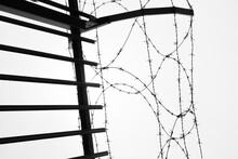 Barbed Wire On The Sky In Black And White