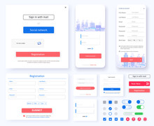 Log In Screen. Mobile Application And Site Interface, Registration Form With Login And Password Fields. Interface Registration Form UX, UI, GUI Screen Template For Website. New Account. Create Account