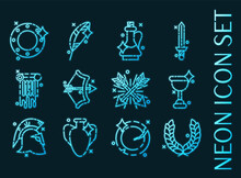 Set Of Ancient Rome Glowing Neon Icons