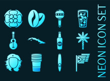 Set Of Cuba Blue Glowing Neon Icons.